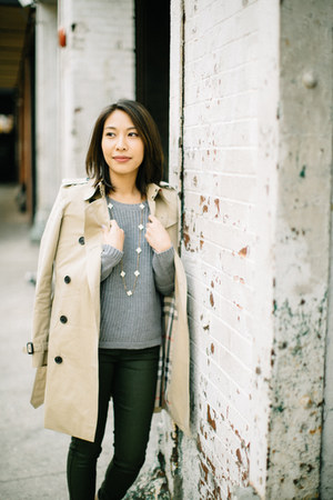 Burberry coat - Tinley Road sweater - 7fam pants