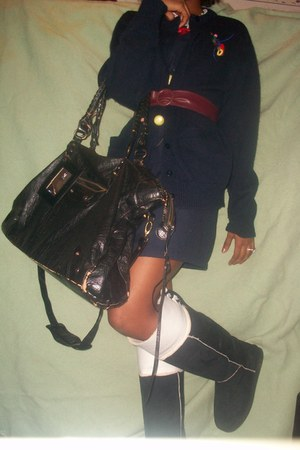 black Uggs boots - navy French Toast dress - black diva bag - navy French Toast