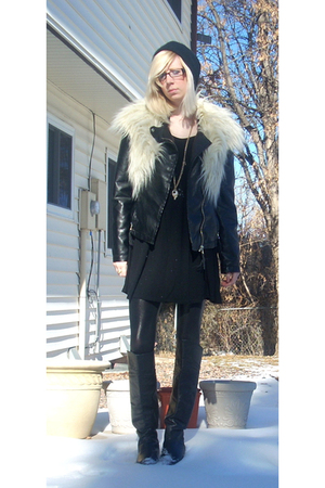 black matty m jacket - black random boutique dress - black Nordstrom boots - bla