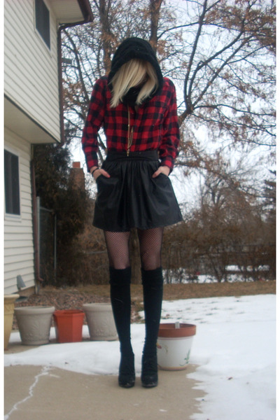 red Walmart shirt - black skirt - black Betsey Johnson tights - black Target soc