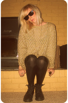 gold thrifted sweater - black Target leggings - black Dr Martens boots - black R