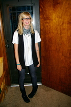 Topshop leggings - thrifted boots - hanes v neck shirt - Nordstrom vest - Macys