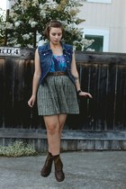 thrifted skirt - doc martens boots - DIY vest
