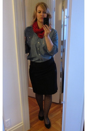 light blue J Crew shirt - black banana republic skirt - ruby red necklush scarf
