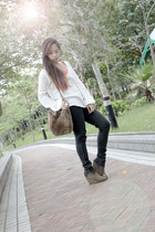 black H&M pants - light brown fur Pull & Bear bag - white longsleeves Zara top