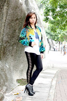 black H&M boots - aquamarine Versace for H&M jacket