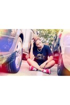 black Brian Lichtenberg t-shirt - red nike sneakers