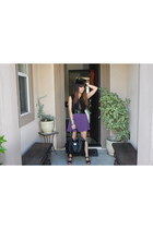 black leatherette purse - black sleeveless blouse - deep purple pleated skirt -