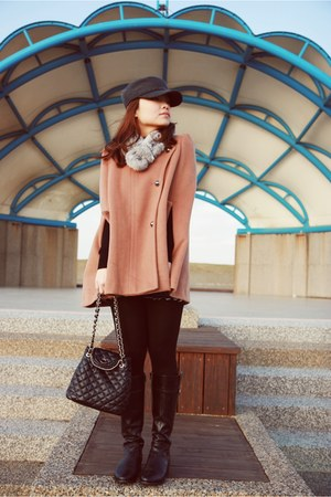 camel cape - black bag - heather gray boots - navy jeans - heather gray scarf