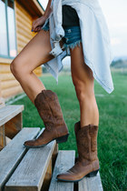 brown leather Ariat boots - light blue bycorpus shirt - denim free people shorts