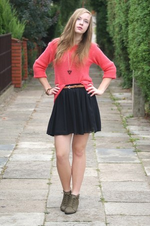 black OASAP skirt - hot pink Madro sweater - dark khaki Czas na buty wedges