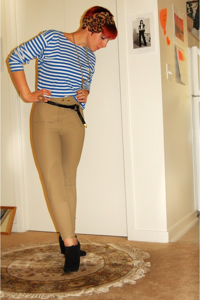 brown unknown scarf - blue Russian sailor shirt top - beige American Apparel pan