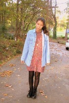 blue Anthropologie jacket - red Isaac Mizrahi for Target dress - black JCrew tig