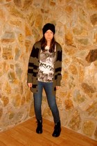 erik hart cardigan - grizzly bear t-shirt - BDG jeans - Nasty Gal hat - Doc Mart