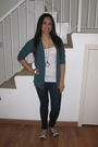 Green-forever-21-cardigan-green-forever-21-shoes