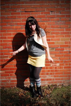 silver Target shirt - yellow hydrolic skirt - silver Target socks