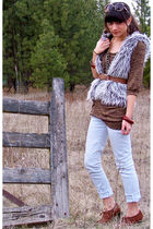 white Fire Jeans jeans - brown Mossimo shoes - brown sweater - silver Forever21