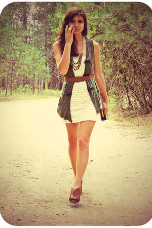 green TJ Maxx vest - brown Target shoes - beige papaya dress