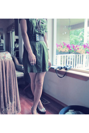 green military Thriftstore dress - brown gifted DSW shoes shoes