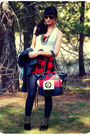 White-vest-red-wet-seal-top-blue-leggings-black-boots-red-chanel-purse-