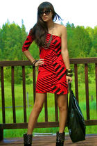 red dress - black boots - black carlos falchi purse