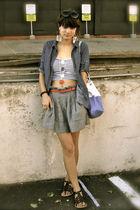 blue LEI blouse - black shoes - blue f21 skirt - red belt