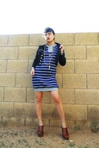 blue striped knit vintage dress - olive green unknown hat - black denim vintage