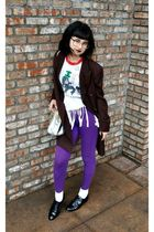white vintage t-shirt - purple seed leggings - black Forever 21 shoes - brown vi