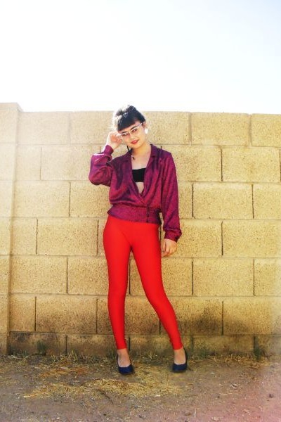 red leggings - pink vintage blouse - black bra - blue - white