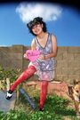 Pink-forever-21-dress-red-stockings-silver-forever-21-forever-21-shoes