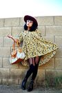 Red-thrifted-hat-yellow-thrifted-dress-black-house-of-holland-stockings-bl