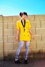 Yellow-vintage-blazer-black-forever-21-necklace-gray-icing-leggings-black-