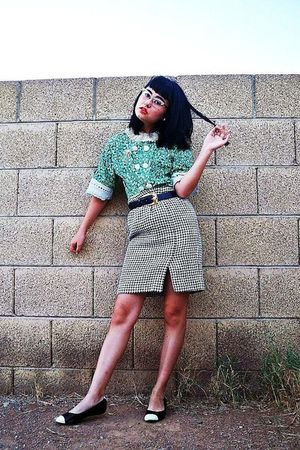 green vintage handmade blouse - white thrifted skirt - blue Anne Klein belt - bl
