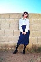 blue thrifted skirt - white vintage blouse - black Forever 21 stockings - black