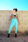 Blue-american-apparel-pants-black-bra-green-thrifted-vintage-jacket-black-