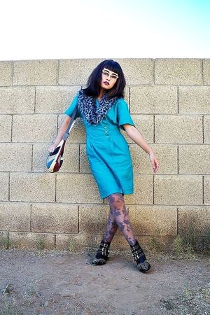 blue wide lapel thrifted dress - black boots