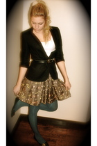 vintage skirt - River Island blazer - Urban Outfitters tights - River Island sho