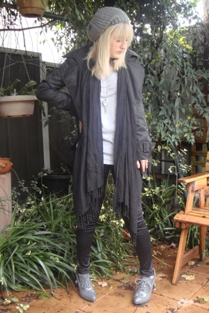 black SES coat - gray Ruby Shoes shoes - black supre leggings