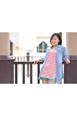 stripe top - denims Miss mios closet blouse - turquiose pants
