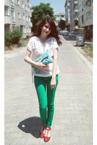 red plastic boyner shoes - green soft Bershka jeans - clutch balenciaga bag - wh