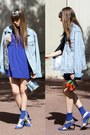 Blue-zara-dress-denim-h-m-jacket-metallic-other-stories-bag