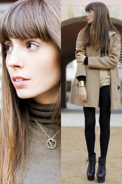 unique Niwen Paola bracelet - lita Jeffrey Campbell boots - camel Mango coat