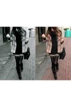 light pink Zara coat - dark gray American Apparel tights - black Friis & Company