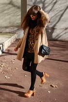 camel Mango coat - black Massimo Dutti bag - dark brown vintage sunglasses