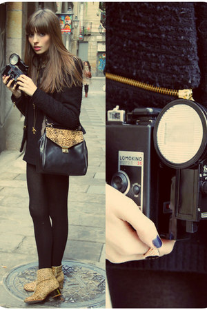 leather bag Zara bag - leopard print Topshop boots - tweed Zara jacket