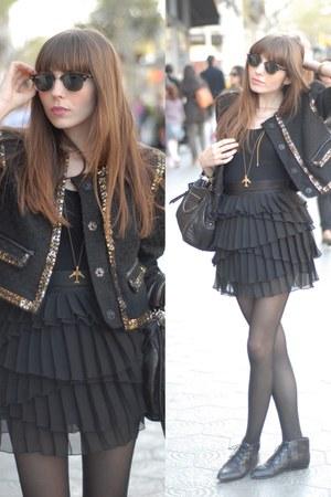 black leather Bimba & Lola boots - black unique Victor von Schwarz jacket - blac