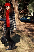ruby red H&M scarf - ruby red Ikks jumper - black Dr Martens boots - heather gra