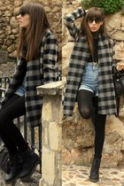 black Dr Martens boots - charcoal gray Zara coat - black Zara bag - light blue H