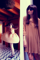 camel pleated asos dress - dark brown Ray Ban sunglasses