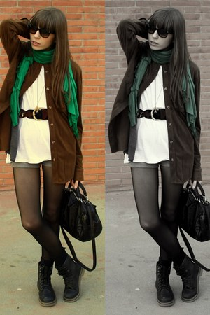 black Dr Martens boots - dark brown Mango shirt - green Zara scarf - black Zara
